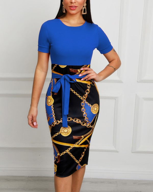 Chain Print Patchwork Tie Waist Midi Dress