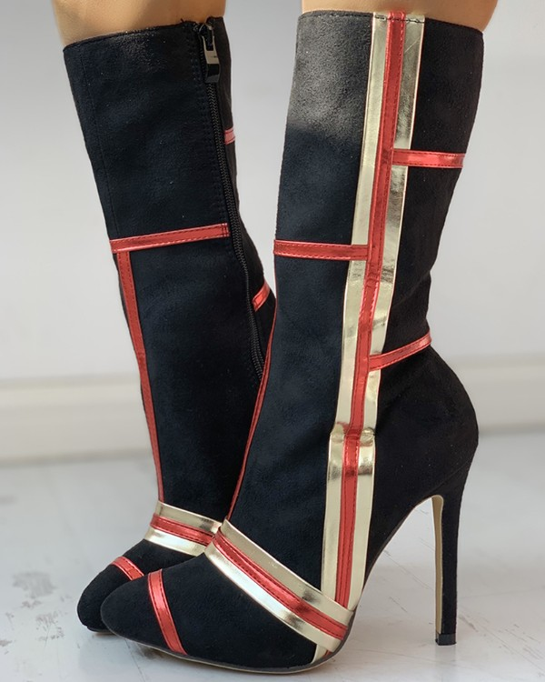 Striped Design Pointed Toe Thin Heeled Boots