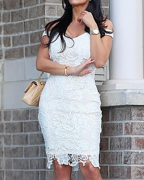 Off Shoulder Lace Cocktail Midi Dress