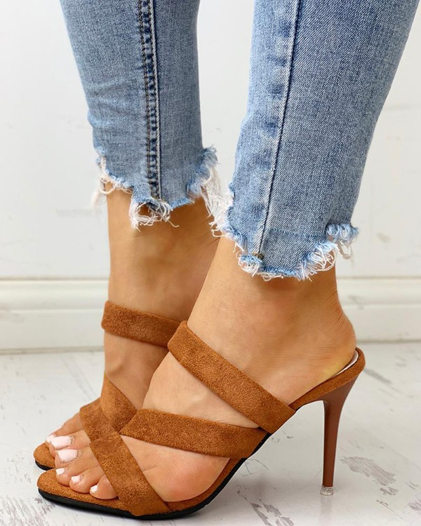 Crisscross Bandage Slingback Thin Heeled Sandals