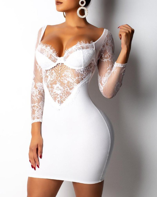 Open Back Lace Insert Bodycon Dress