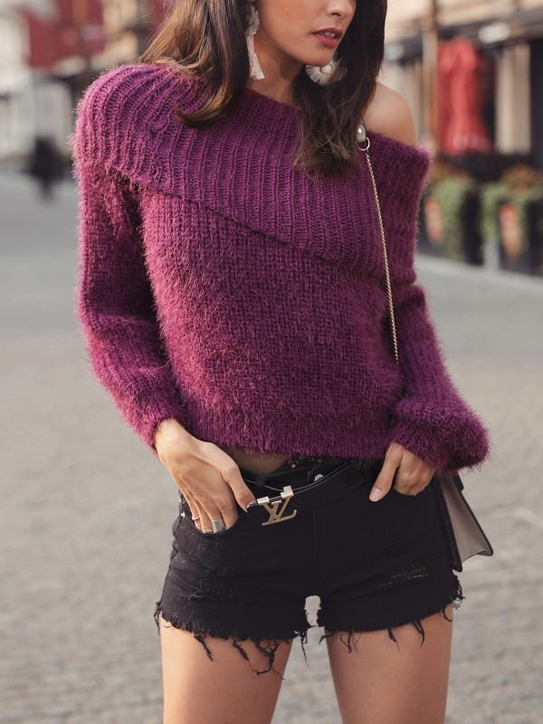 Solid Fluffy Off Shoulder Fold-Over Sweater