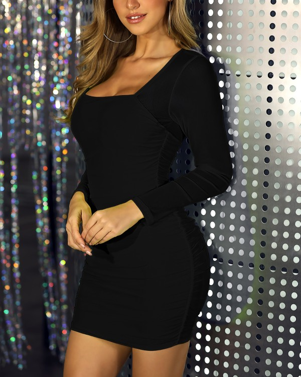 Solid Mesh Sleeve Bodycon Dress