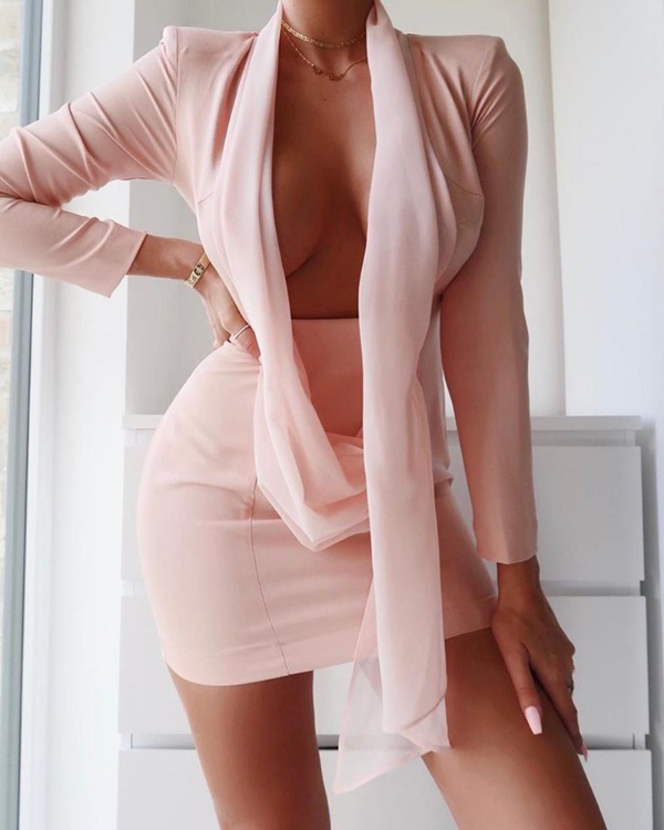 Long Sleeve Cowl Neck Bodycon Dress