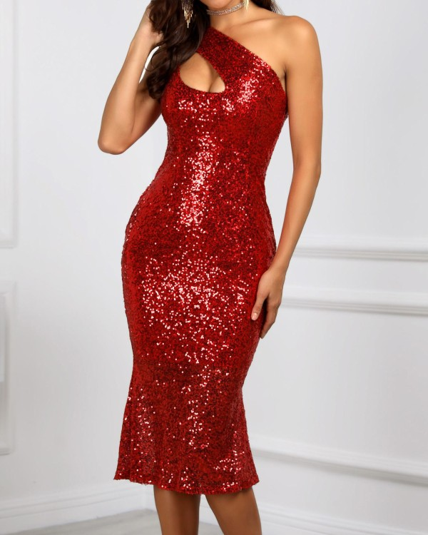 One Shoulder Cut Out Sequin Party Dress