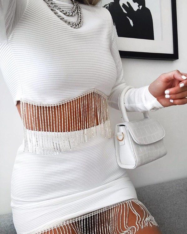 Solid Tassels Two-Piece Dress