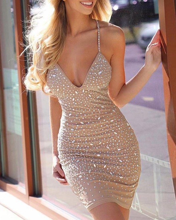 Studded Spaghetti Strap Crisscross Backless Dress