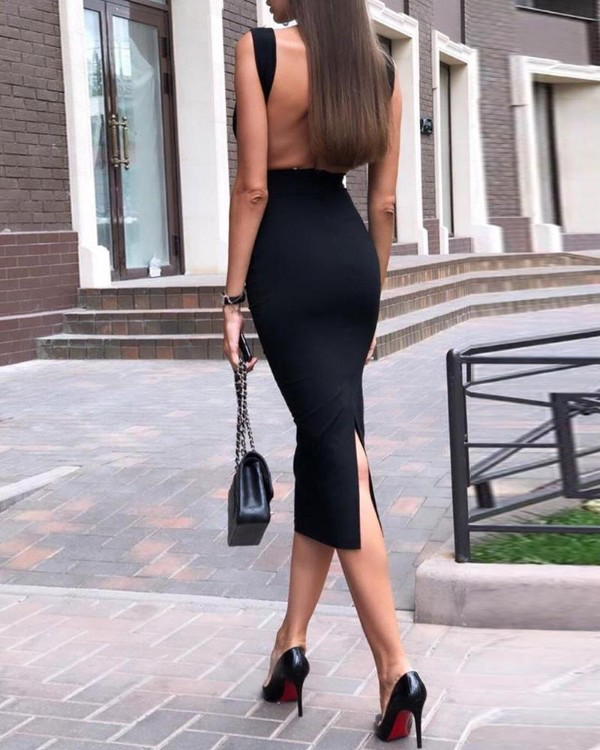 Open Back Slit Detail Bodycon Dress