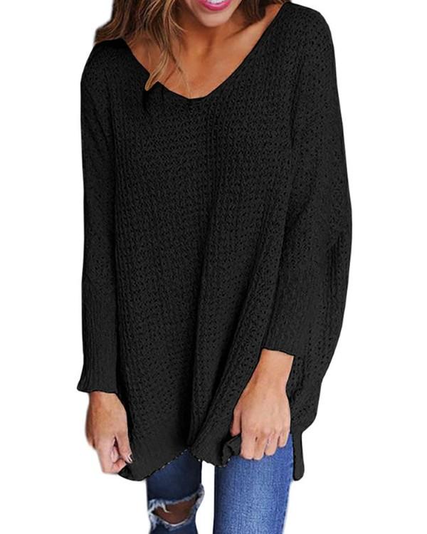 Solid V Neck Loose Sweater