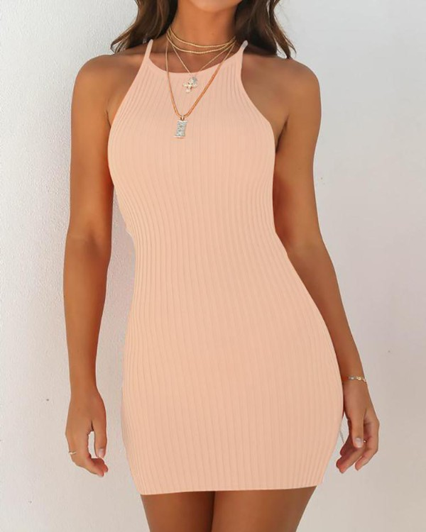 Sleeveless Halter Solid Bodycon Mini Dress
