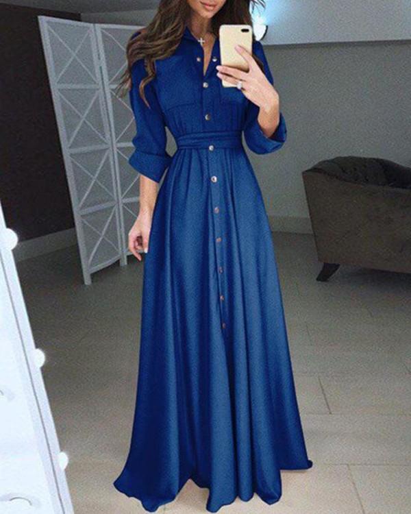 Snap Button Sheath Maxi Dress