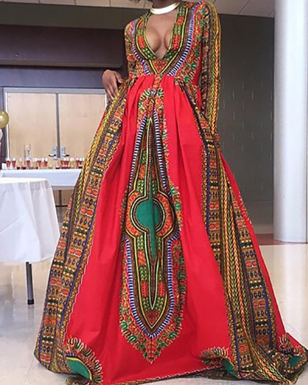 Ethnic Style Printed Low Cut Maxi Dress