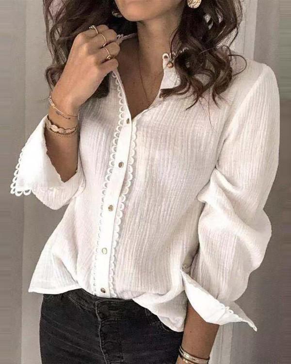 Solid Lace Hem Long Sleeve Shirt