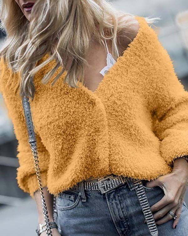 Solid Long Sleeve Polar??Fleece Blouse