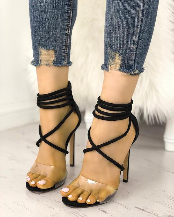 Transparent Crisscross Strappy Stilettoe Sandals