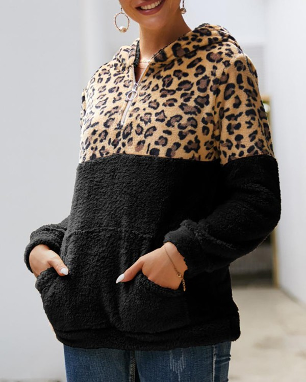 Leopard Zipped Design Pocket Hooded Sweatshirt