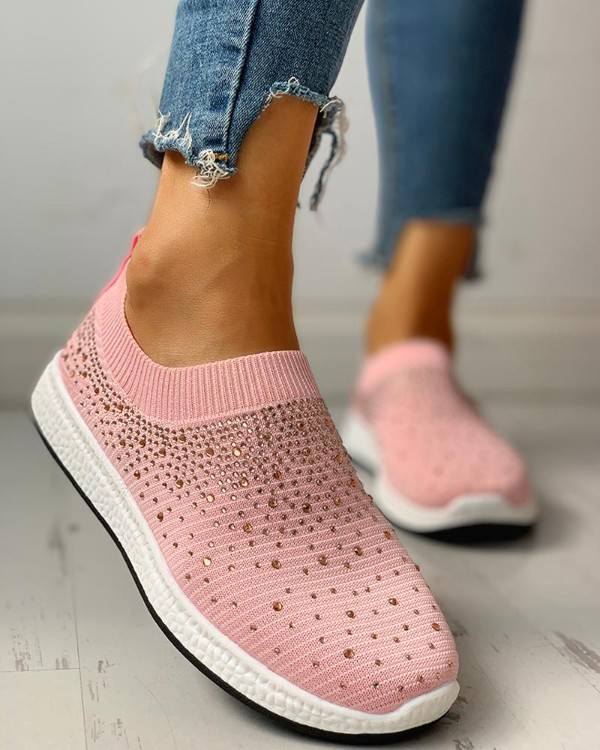 Hot Stamping Ribbed Breathable Knitting Sneakers