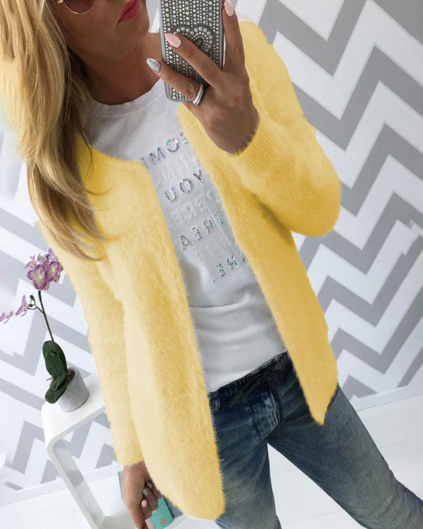 Solid Long Sleeve Casual Fluffy Coat