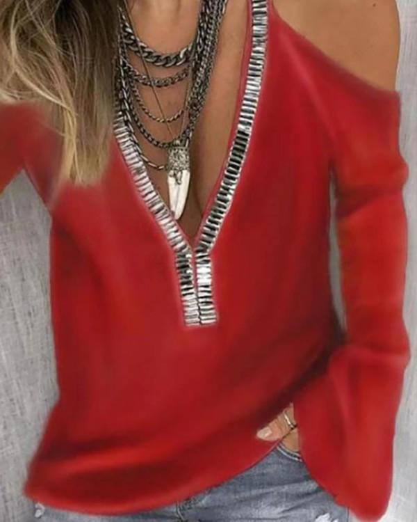 Cold Shoulder Sequins Patch Long Sleeve Blouse