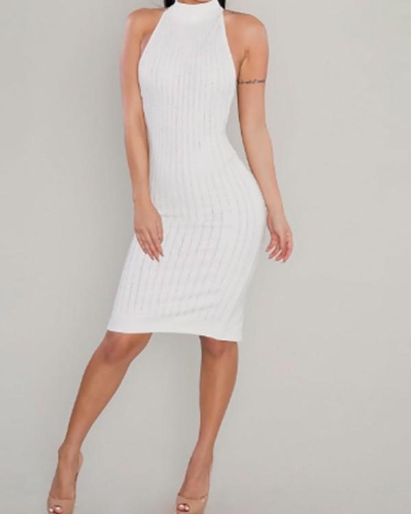 Sexy Glittering Sequins Halter Slit Back Midi Dress