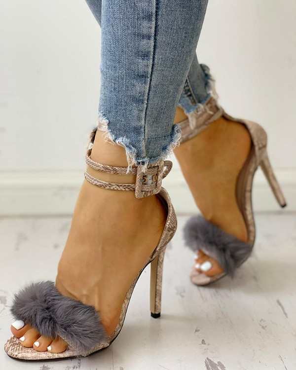 Sexy Faux Fur Anklet Buckles Heeled Sandals