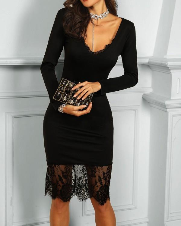 Eyelash Lace Splicing Long Sleeve Dress