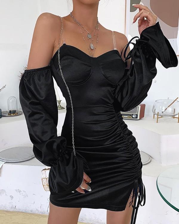 Off Shoulder Ruched Slit Bodycon Dress