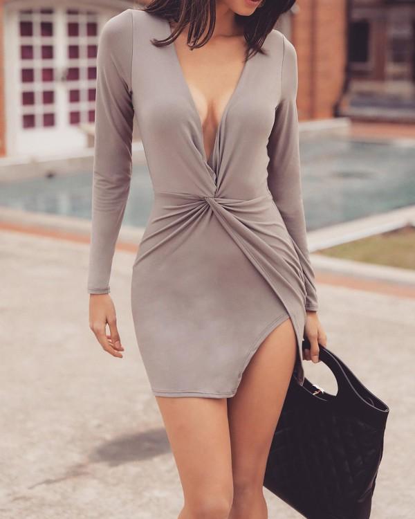 Solid Twist Front Plunge Side Slit Irregular Dress