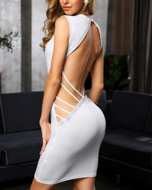 Deep V Ladder Open Back Bodycon Dress