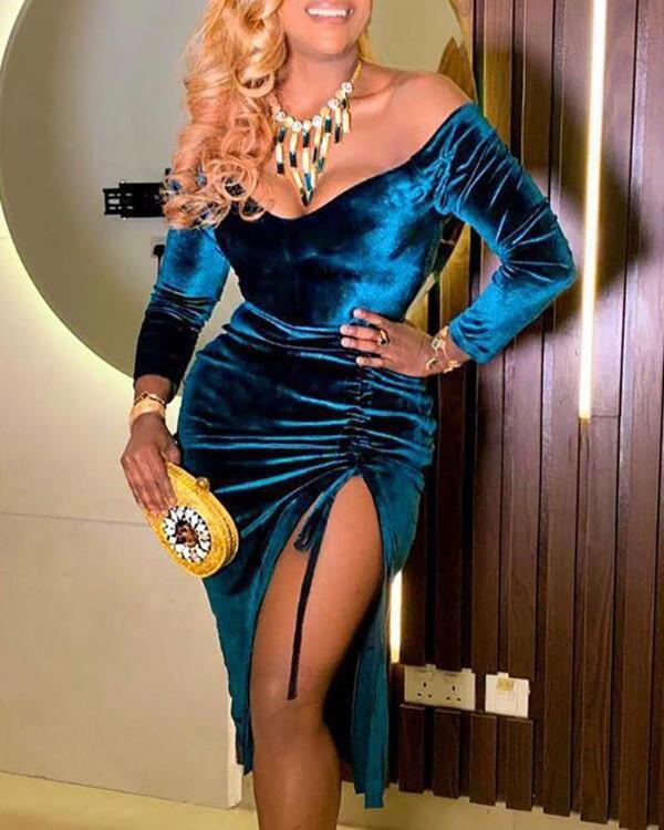 Velvet Off Shoulder High Slit Party Dress