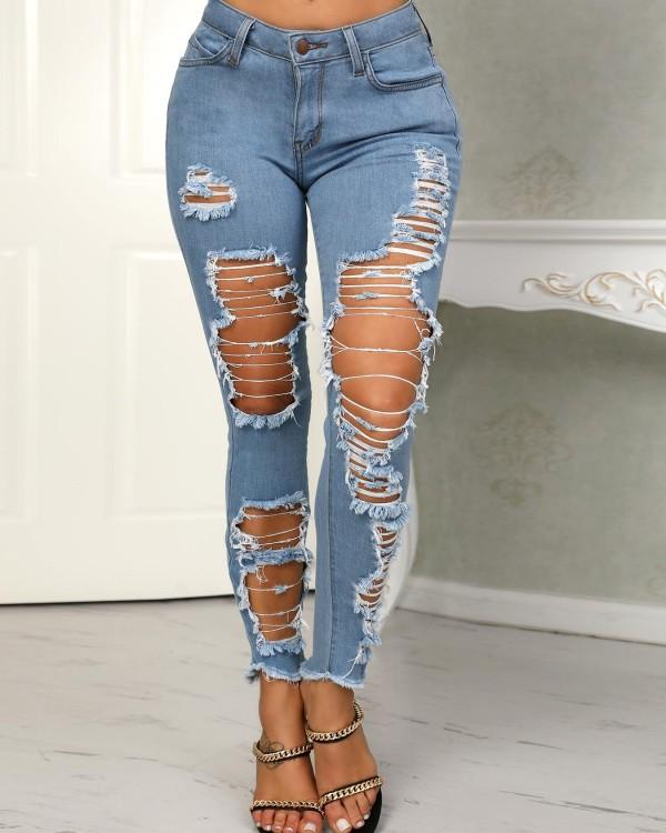 Holey Frayed Hem Distressed Pencil Jeans