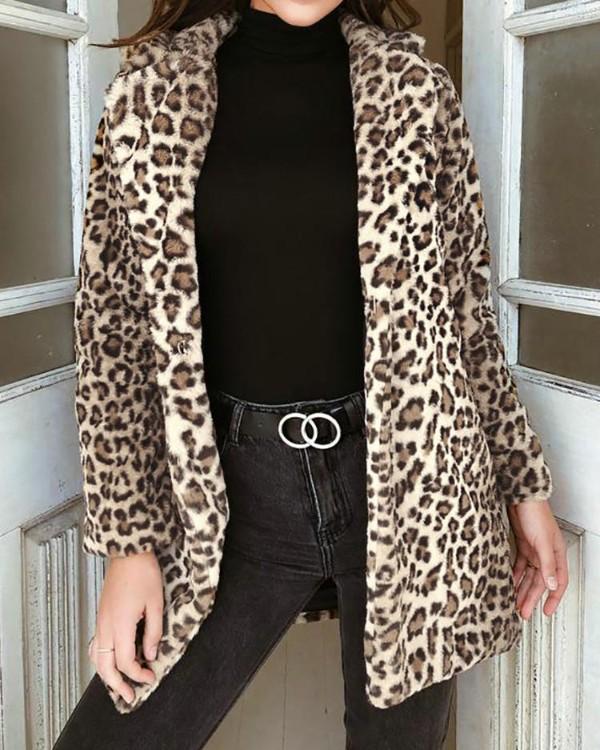 Leopard Fluffy Open Front Coat