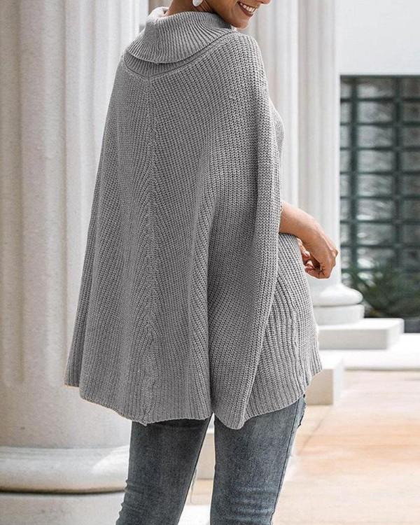 Casual High Neck Cape Sweater