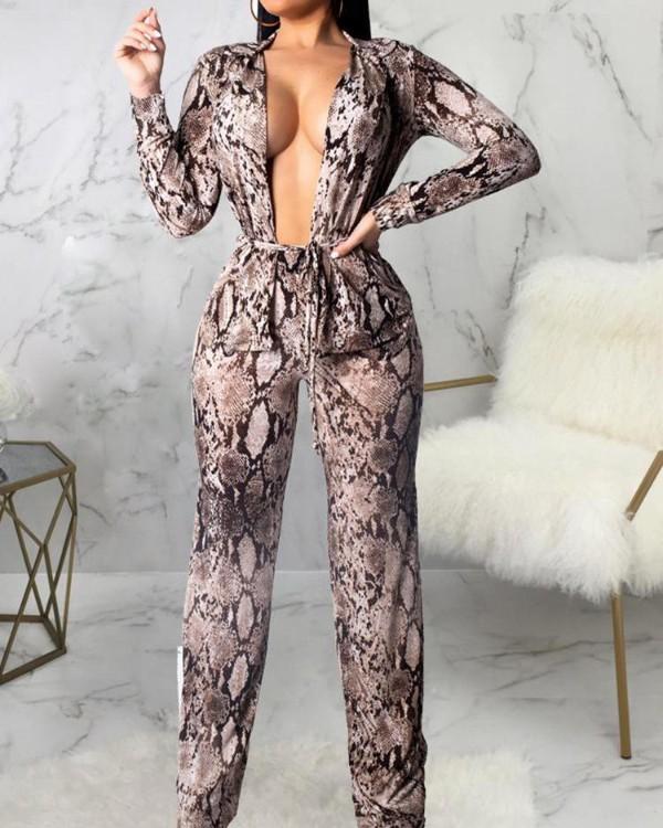 Snakeskin Print Belted Top & Pants Sets