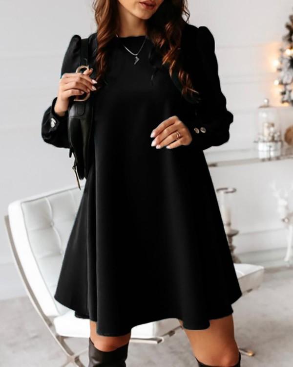 Solid Button Design Casual Mini Dress