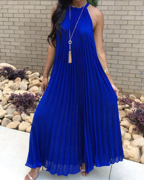 Boho Style Halter Ruched Casual Maxi Dress