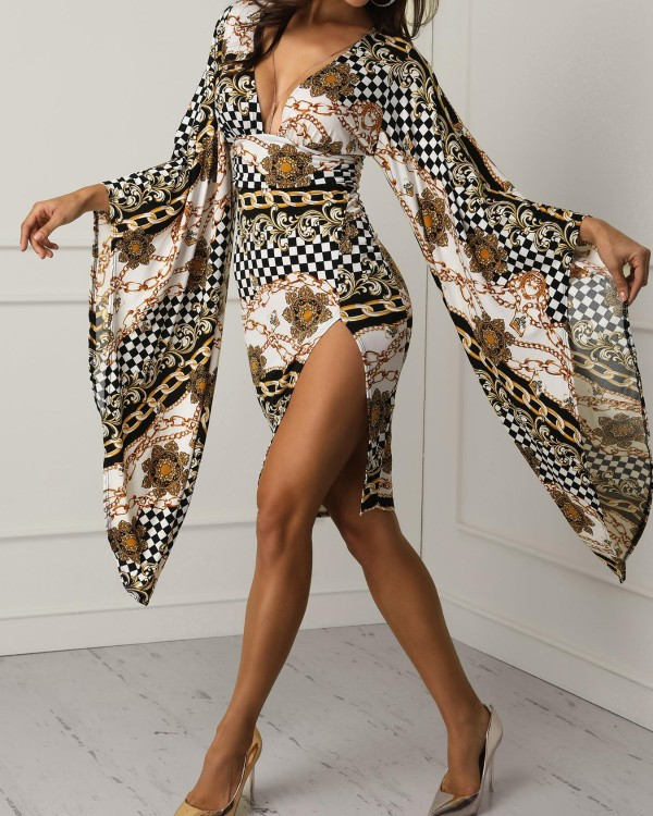 Floral & Chain Print Plunge Bell Sleeve Bodycon Dress