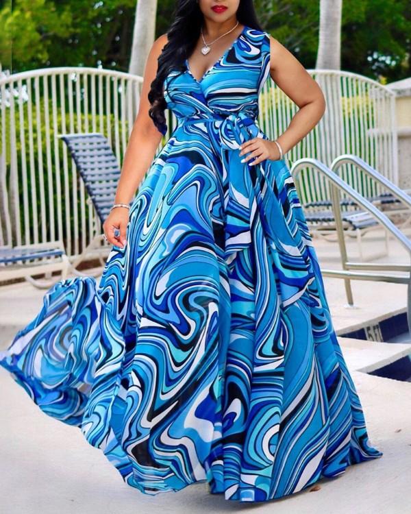 V-neck Multicolor Rippled Print Maxi Dress