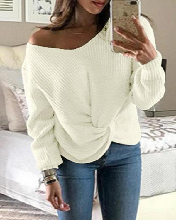 Solid Ribbed Knit Long Sleeve Sweater