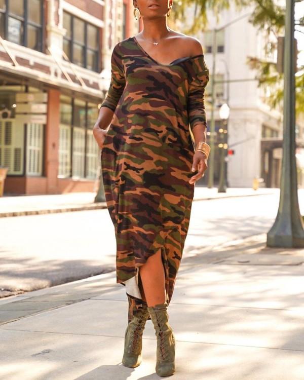 Camouflage V Neck Dip Hem Casual Dress