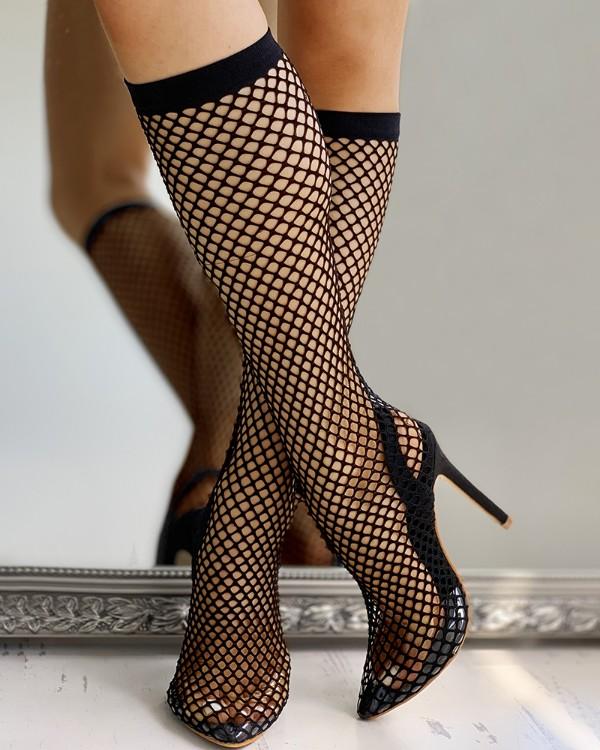 Solid Stocking Design Thin Heels