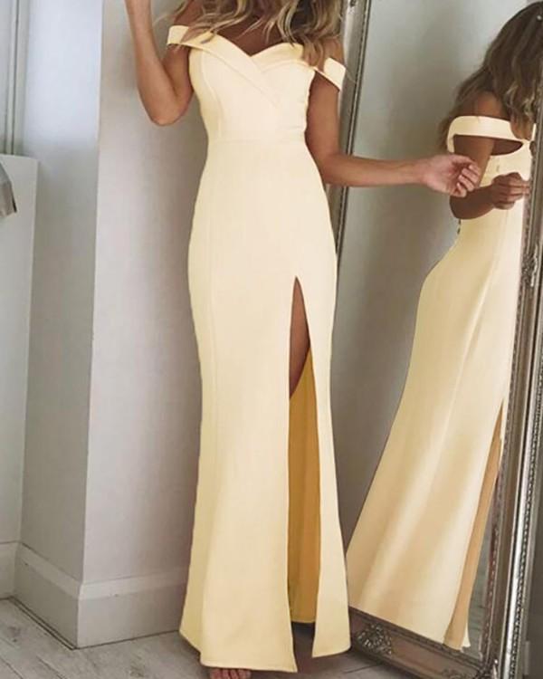Off Shoulder Thigh Slit Evening Dress