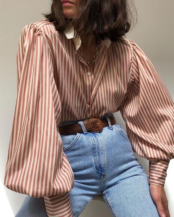 Striped Print Lantern Sleeve Shirt