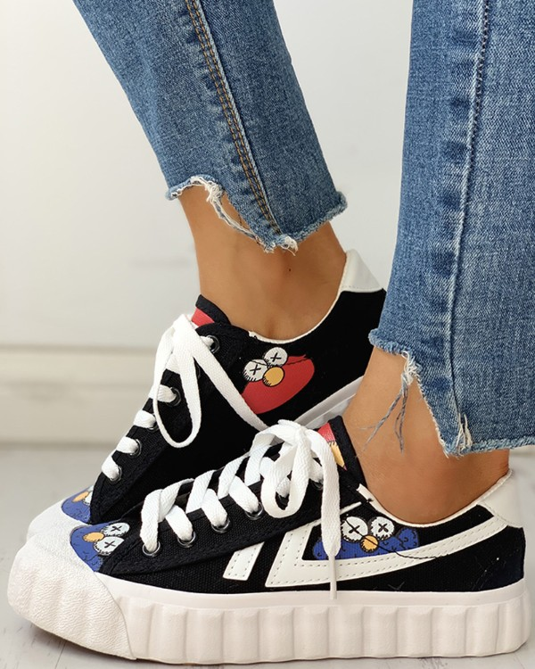 Colorblok Patchwork Lace-Up Casual Sneakers