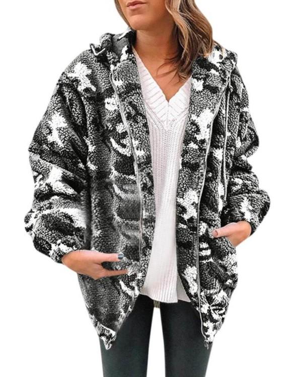 Hoodie Faux Shearling Camo Jacket