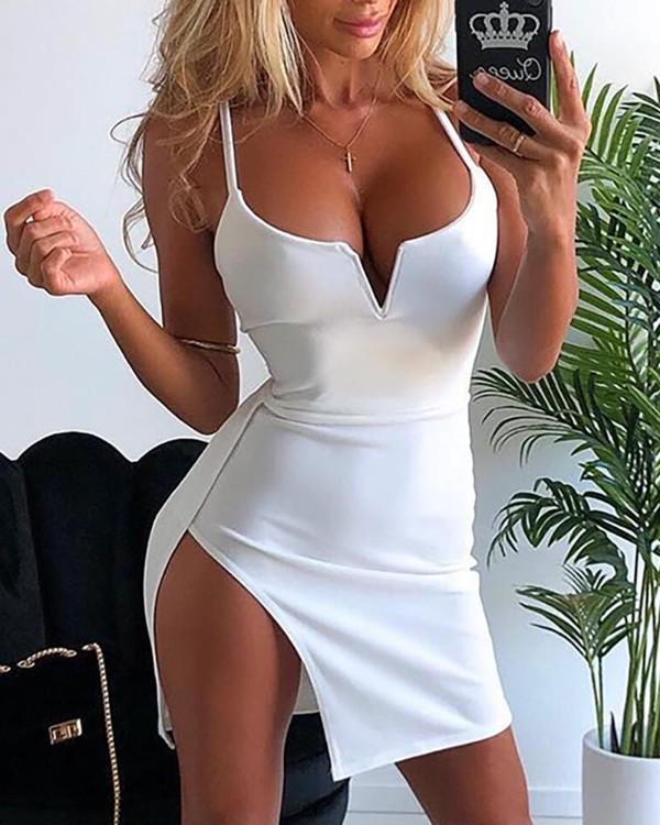V-Cut Side Slit Bodycon Dress