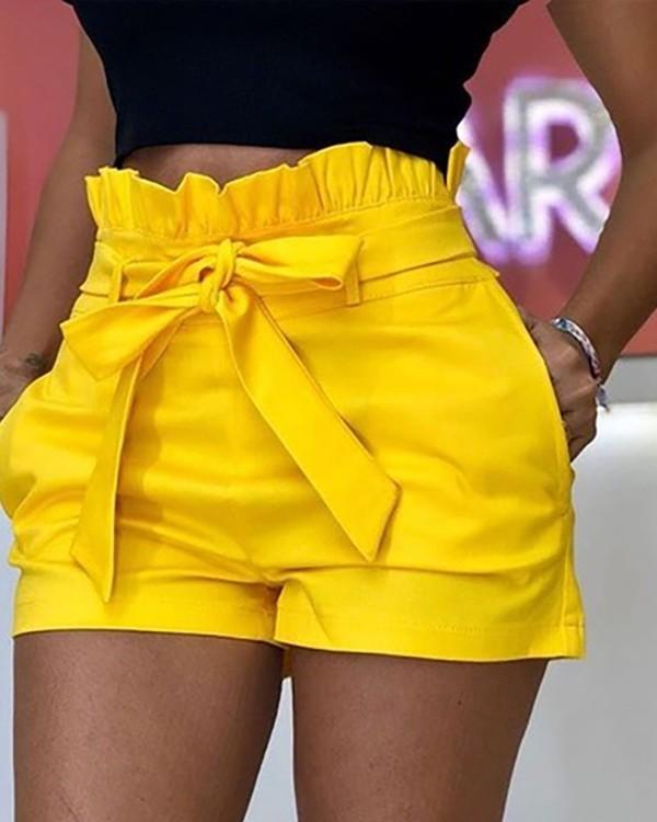 Frills High Waist Short Pants With Belt