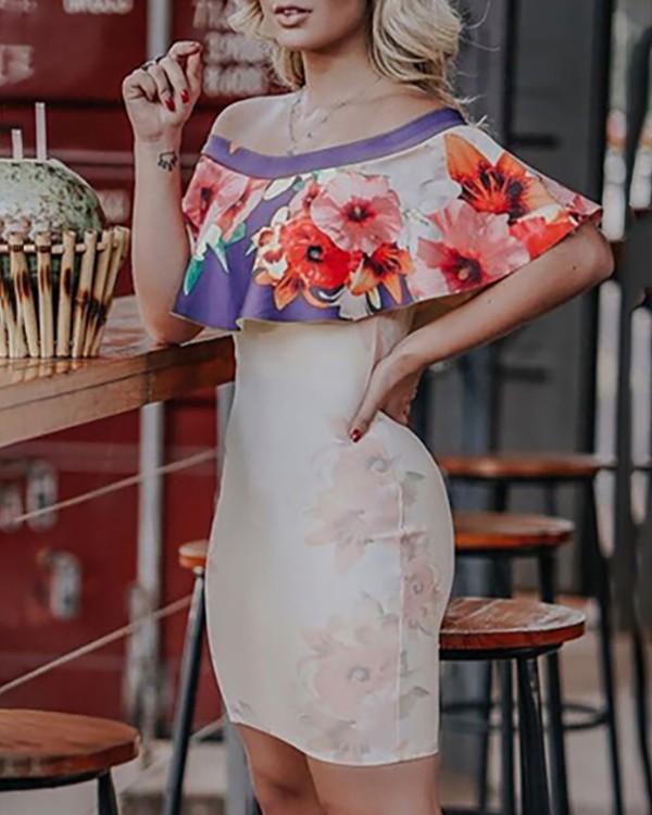 Floral Flounce Off Shoulder Bodycon Dress