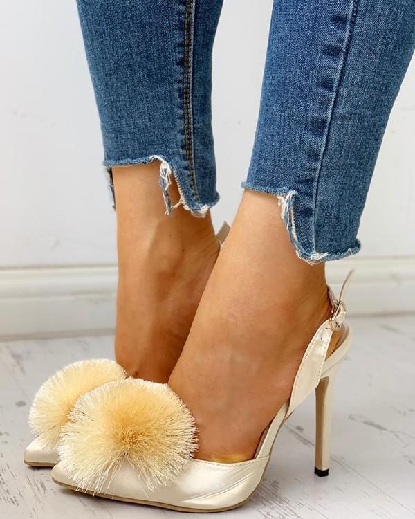 Fluffy Ball Embellished Slingback Thin Heels