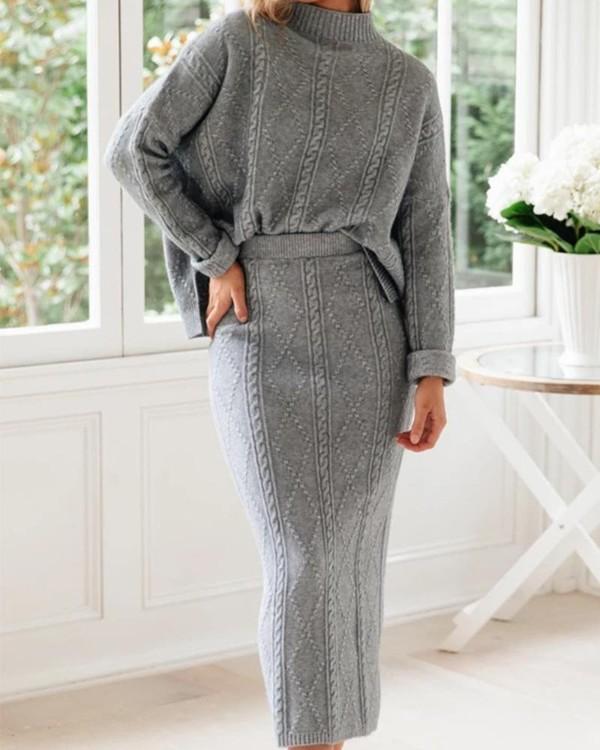High Neck Casual Sweater + Maxi Skirt Set